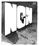 (Harold Wilson climbs through a giant 'Non' to gain entry to the European Common Market)
