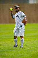 KELOWNA, CANADA - JUNE 28: Former NHL player Brian Gionta warms up in the field prior to the opening charity game of the Home Base Slo-Pitch Tournament fundraiser for the Kelowna General Hospital Foundation JoeAnna's House on June 28, 2019 at Elk's Stadium in Kelowna, British Columbia, Canada.  (Photo by Marissa Baecker/Shoot the Breeze)