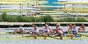 Eton Dorney, Windsor, Great Britain,..2012 London Olympic Regatta, Dorney Lake. Eton Rowing Centre, Berkshire[ Rowing]...Description;   Men's Lightweight Fours, foreground.GBR.LM4- Peter CHAMBERS (b) , Rob WILLIAMS (2) , Richard CHAMBERS (3) , Chris BARTLEY (s).SUI LM4- Simon SCHUERCH (b) , Lucas TRAMER (2) , Simon NIEPMANN (3) , Mario GYR..NED. LM4- Roeland LIEVENS (b) , Timothee HEIJBROCK (2) , Vincent MUDA (3) , Tycho MUDA (s)...Dorney Lake. 12:16:49  Thursday  02/08/2012.  [Mandatory Credit: Peter Spurrier/Intersport Images]...Venue, Rowing, 2012 London Olympic Regatta...