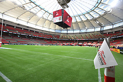 March 9, 2019 - Vancouver, BC, U.S. - VANCOUVER, BC - MARCH 09:  The empty pitch before competitions begins during day 1 of the 2019 Canada Sevens Rugby Tournament on March 9, 2019 at BC Place in Vancouver, British Columbia, Canada. (Photo by Devin Manky/Icon Sportswire) (Credit Image: © Devin Manky/Icon SMI via ZUMA Press)