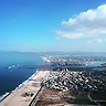 Pacific Ocean (left) Dockweiler State Beach (foreground, left), Playa Vista (foreground) & Marina Del Rey (near inlet off ocean)