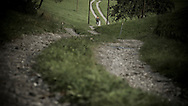 Rene Wildhaber rides his old Swiss army bike during the Red Bull Buffalo Soldier Mountain Bike Trip in Switzerland in Flumserberg, on October 03th 2012.