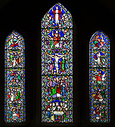 Stained glass window principal events of the life of Jesus Christ by William Wailes dated 1860, Bishops Cannings church, Wiltshire, England, UK