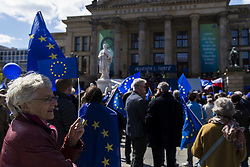 April 30, 2017 - Berlin, Berlin, Germany - Around 1000 Pro-Europeans gather at Gendarmenmarkt in Central Berlin for the eleventh time. The organisers believe in the fundamental idea of the European Union and its reformability and development. 'Pulse of Europe' Meetings appear every Sunday in several European cities. The mostly bourgeois demonstrators wave Europe flags and sing the 'Ode to Joy' (German: 'An die Freude') which is used as the Anthem of Europe by the Council of Europe in 1972, and subsequently the European Union. (Credit Image: © Jan Scheunert via ZUMA Wire)