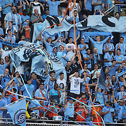 NYCFC fans during the New York Red Bulls Vs NYCFC, MLS regular season match at Red Bull Arena, Harrison, New Jersey. USA. 10th May 2015. Photo Tim Clayton