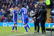Pedro of Chelsea is replaced by sub Michy Batshuayi of Chelsea. Premier league match, Burnley v Chelsea at Turf Moor in Burnley, Lancs on Sunday 12th February 2017.<br /> pic by Chris Stading, Andrew Orchard Sports Photography.