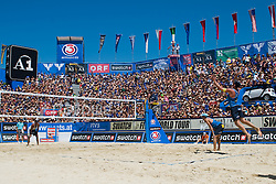 Alison Conte Cerutti of Brazil on serve at A1 Beach Volleyball Grand Slam tournament of Swatch FIVB World Tour 2010, bronze medal, on August 1, 2010 in Klagenfurt, Austria. (Photo by Matic Klansek Velej / Sportida)