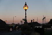 Old gas lamps street lighting in Rugeley, United Kingdom.