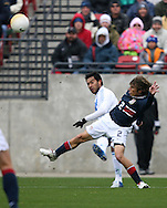 Carlos Ruiz (behind), of Guatemala, gets a cross past the United States' Frankie Hejduk (2) on Sunday, February 19th, 2005 at Pizza Hut Park in Frisco, Texas. The United States Men's National Team defeated Guatemala 4-0 in a men's international friendly.