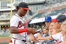 May 31, 2018 - Atlanta, GA, U.S. - ATLANTA, GA Ð MAY 31:  Atlanta's Ozzie Albies (1) signs autographs prior to the start of the game between Atlanta and Washington on May 31st, 2018 at SunTrust Park in Atlanta, GA.  The Atlanta Braves beat the Washington Nationals by a score of 4 - 2.  (Photo by Rich von Biberstein/Icon Sportswire) (Credit Image: © Rich Von Biberstein/Icon SMI via ZUMA Press)