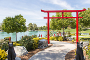 Red Torii Gate and Japanese Garden at Temecula Duck Pond