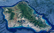 Our visited sights are marked on a terrain map of the island of Oahu, Hawaii, USA.