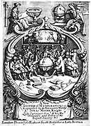 Frontispiece  of 'A New System of Mathematicks', Jonas Moore, (London, 1681). This book, intended for the mathematical school at Christ's Hospital, it was uncompleted on Moore's death and was finished by John Flamsteed (1646-1719) and John Perkins. It was a textbook for the boys of the school learning surveying and navigation, skills needed to aid the nation's trade and exploration. Engraving.