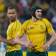Berrick Barnes, Australia, (right) and Quade Cooper, Australia, during the Australia V USA, Pool C match during the IRB Rugby World Cup tournament. Wellington Stadium, Wellington, New Zealand, 23rd September 2011. Photo Tim Clayton...