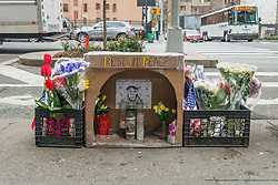 April 3, 2017 - New York, New York, United States - A makeshift shrine to Timothy Caughman who was killed in an alleged bias attack by James Harris Jackson on March 20th, 2017 is seen on the Southeast corner of West 36th Street near where Mr. Caughman resided and was slain. (Credit Image: © Albin Lohr-Jones/Pacific Press via ZUMA Wire)