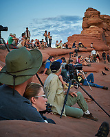 Photographers waiting for sunset at Delicate Arch in Canyonlands National Park. Image taken with a Nikon D700 camera and 50 mm f/1.4 lens (ISO 800, 50 mm, f/16, 1/20 sec)