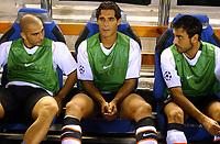 Fotball<br /> Champions League 2004/05<br /> Valencia v Anderlecht<br /> Mestalla<br /> 14. september 2004<br /> Foto: Digitalsport<br /> NORWAY ONLY<br /> Marco Di Vaio, Bernardo Corradi and Stefano Fiore