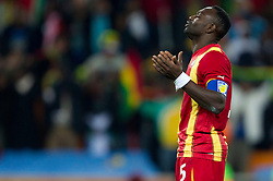 John Mensah of Ghana prays during penalty shot in the last minute of overtime at  2010 FIFA World Cup South Africa Quarter Finals football match between Uruguay and Ghana on July 02, 2010 at Soccer City Stadium in Sowetto, suburb of Johannesburg. Uruguay defeated Ghana after penalty shots. (Photo by Vid Ponikvar / Sportida)