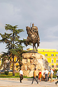 The statue of the 15th century warrior and national hero Skanderburg Skanderbeg on a huge stone base. The Tirana Main Central Square, Skanderbeg Skanderburg Square. Tirana capital. Albania, Balkan, Europe.