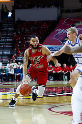 NORMAL, IL - February 22: Lijah Donnelly looks for the lane defended by Garrett Sturtz during a college basketball game between the ISU Redbirds and the Drake Bulldogs on February 22 2020 at Redbird Arena in Normal, IL. (Photo by Alan Look)