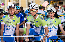 Ziga Jerman, Ziga Horvat, Tadej Pogacar of Slovenia during the Men Under 23 Road Race 179.9km Race from Kufstein to Innsbruck 582m at the 91st UCI Road World Championships 2018 / RR / RWC / on September 28, 2018 in Innsbruck, Austria.  Photo by Vid Ponikvar / Sportida