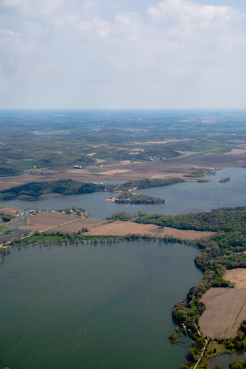 Aerial view of Fish Lake and Mud Lake in northwest Dane County, Wisconsin, USA on a beautiful spring day.