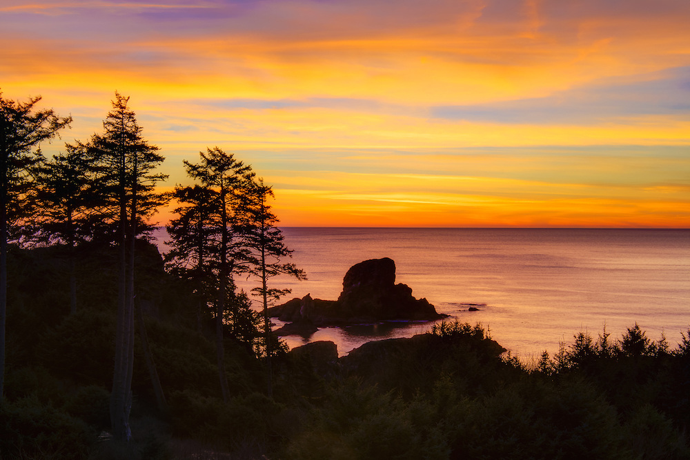 An incredible fiery sunset on a rare sunny winter evening on Oregon's Tillamook Head - just north of Cannon Beach.