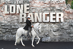 The Lone Ranger & Silver, The Lone Ranger UK Film Premiere, Leicester Square, London UK, 21 July 2013, (Photo by Richard Goldschmidt)  © Licensed to London News Pictures.