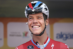 February 14, 2018 - Lagos, Portugal - Bob Jungels of Quick-Step Floors before the 1st stage of the cycling Tour of Algarve between Albufeira and Lagos, on February 14, 2018. (Credit Image: © Str/NurPhoto via ZUMA Press)