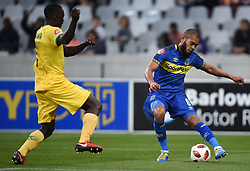 Cape Town-180818 Cape Town City defender Ebrahim Seedat challenged by Limbikani Mzava of Golden Arrows in a PSL match at Cape Town Stadium .photograph:Phando Jikelo/African News Agency/ANA