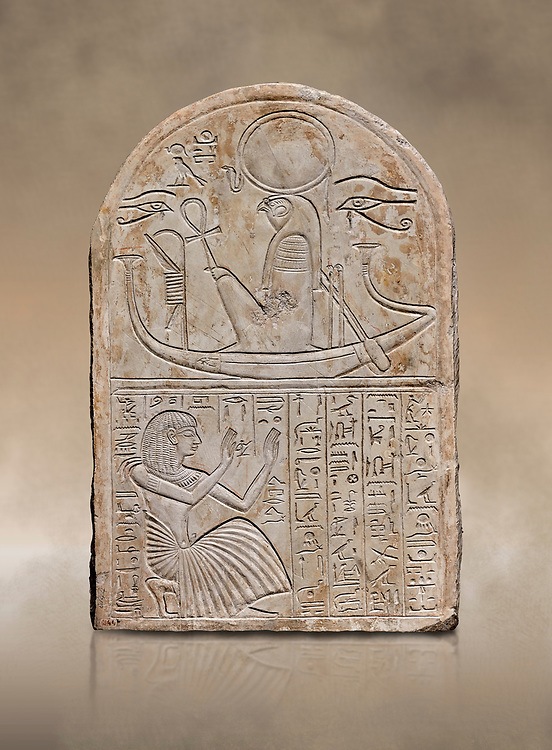 Ancient Egyptian stele dedicated to Re-Harakhty by draftsman Pay, limestone, New Kingdom, 19th Dynasty, (1292-1190 BC), Deir el-Medina, Schiaprelli cat 6144. Egyptian Museum, Turin. .<br /> <br /> If you prefer to buy from our ALAMY PHOTO LIBRARY  Collection visit : https://www.alamy.com/portfolio/paul-williams-funkystock/ancient-egyptian-art-artefacts.html  . Type -   Turin   - into the LOWER SEARCH WITHIN GALLERY box. Refine search by adding background colour, subject etc<br /> <br /> Visit our ANCIENT WORLD PHOTO COLLECTIONS for more photos to download or buy as wall art prints https://funkystock.photoshelter.com/gallery-collection/Ancient-World-Art-Antiquities-Historic-Sites-Pictures-Images-of/C00006u26yqSkDOM
