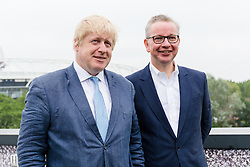 © Licensed to London News Pictures. 04/06/2016. LONDON, UK.  BORIS JOHNSON and MICHAEL GOVE attend a Vote Leave rally at Forman's Fish Island in east London. Vote Leave is the official campaign for a Leave vote (Brexit) in the EU Referendum that will take place in the United Kingdom on the 23rd June 2016.  Photo credit: Vickie Flores/LNP