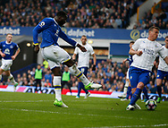 Romelu Lukaku of Everton scores the fourth goal during the English Premier League match at Goodison Park Stadium, Liverpool. Picture date: April 9th 2017. Pic credit should read: Simon Bellis/Sportimage