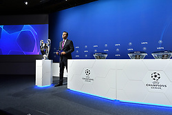 NYON, SWITZERLAND - Friday, July 10, 2020: Presenter Pedro Pintor during the UEFA Champions League and UEFA Europa League 2019/20 draws for the Quarter-final, Semi-final and Final at the UEFA headquarters, The House of European Football. (Photo Handout/UEFA)