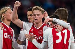 08-05-2019 NED: Semi Final Champions League AFC Ajax - Tottenham Hotspur, Amsterdam<br /> After a dramatic ending, Ajax has not been able to reach the final of the Champions League. In the final second Tottenham Hotspur scored 3-2 / Frenkie de Jong #21 of Ajax, Noussair Mazraoui #12 of Ajax, Kasper Dolberg #25 of Ajax, Nicolas Tagliafico #31 of Ajax