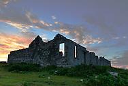 Ruins of Victorian mining building, Lundy Island, Devon