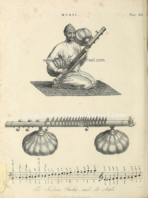 Indian Guitar [Sitar] and its scale Copperplate engraving From the Encyclopaedia Londinensis or, Universal dictionary of arts, sciences, and literature; Volume XVI;  Edited by Wilkes, John. Published in London in 1819