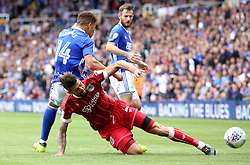Eros Pisano of Bristol City tackles Che Adams of Birmingham City for possession of ball - Mandatory by-line: Ryan Crockett/JMP - 12/08/2017 - FOOTBALL - St Andrew's Stadium - Birmingham, England - Birmingham City v Bristol City - Sky Bet Championship