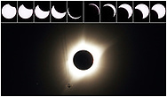 A combination of ten pictures shows the progression of a partial solar eclipse near as a jet plane flies by the total solar eclipse in Guernsey, Wyoming U.S., August 21, 2017.  REUTERS/Rick Wilking