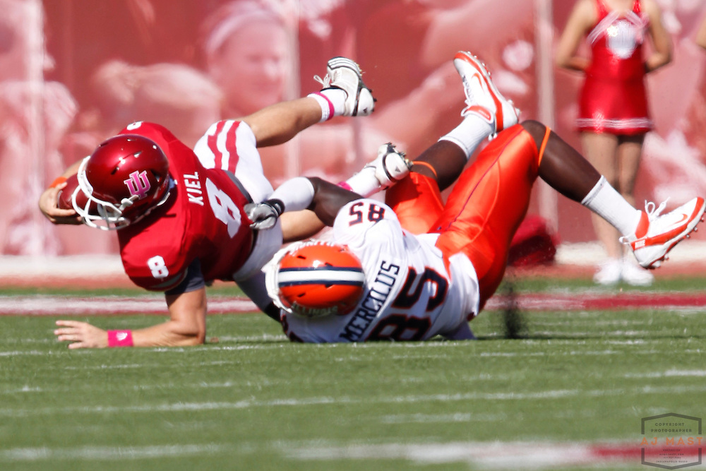 08 October 2011: Indiana Hoosiers quarterback Dusty Kiel (8) as the Illinois Fighting Illini  played the Indiana Hoosiers in a college football game in Bloomington, Ind.