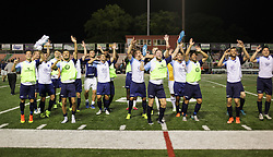 11 June 2016. New Orleans, Louisiana.<br /> NPSL Soccer, Pan American Stadium.<br /> Chattanooga FC celebrates victory after the New Orleans Jesters v Chattanooga FC game. Jesters lose 0-1 in a fiercely fought contest.<br /> Photo; Charlie Varley/varleypix.com