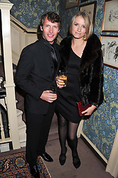 JAMES BLUNT and SOFIA WELLESLEY at a dinner hosted by Edward Taylor and Alexandra Meyers in association with Johnnie Walker Blue Label held at Mark's Club, 46 Charles Street, London W1 on 26th April 2012.