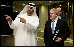 The London Mayor Boris Johnson tours Masdar City and meets Sultan Al Jaber, CEO of Masdar and Minister of State for Energy in Abu Dhabi. The Mayor is on a 2 day tour of the UAE, Monday April 15, 2013. Photo By Andrew Parsons / i-Images