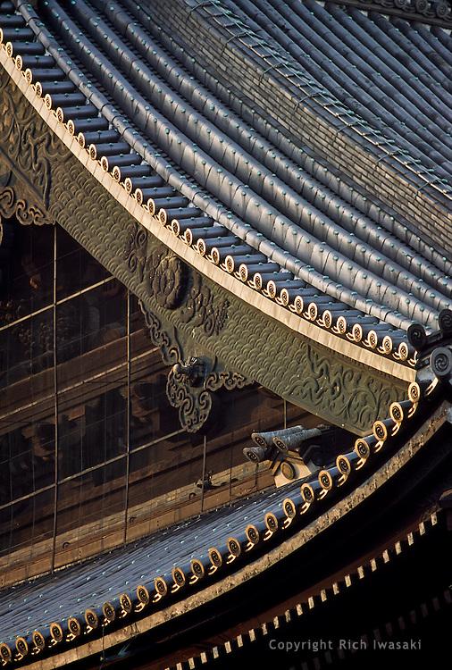 Architectural detail of Higashi Hongan-ji (temple) roof, Kyoto, Japan