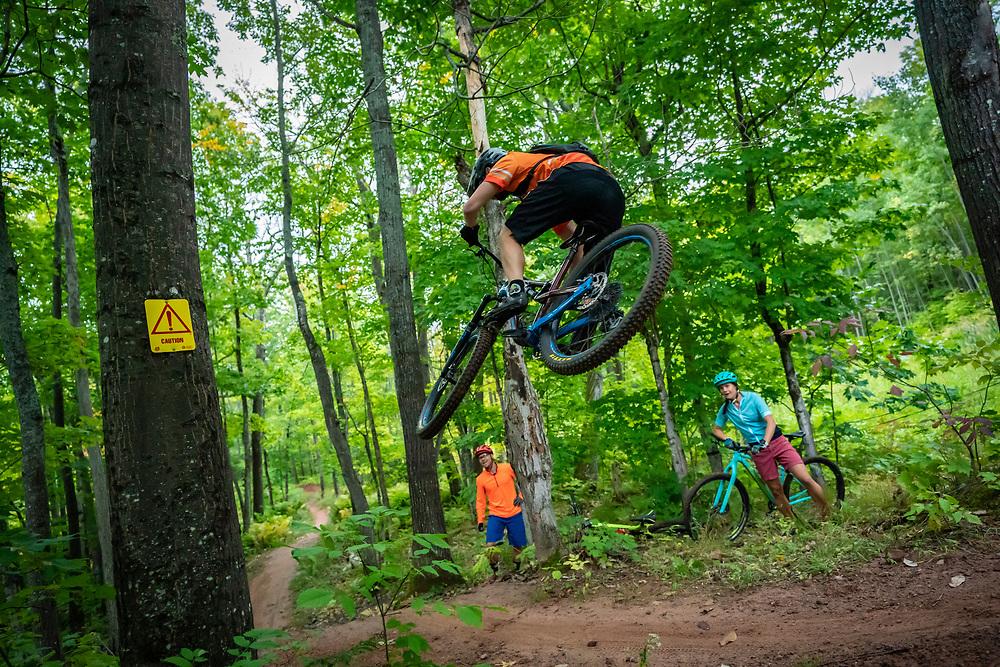 Mountain biking the Michigan Tech trails in Houghton, Michigan.