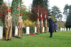 Prime Minister Theresa May at the St Symphorien Military Cemetery in Mons, with Belgian Prime Minister Charles Michel, laying a wreath at the grave of George Ellison, the last British soldier to be killed before Armistice in 1918.
