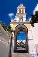 Bell tower of a street at Megalohori, Santorini, Greece .<br /> <br /> If you prefer to buy from our ALAMY PHOTO LIBRARY  Collection visit : https://www.alamy.com/portfolio/paul-williams-funkystock/santorini-greece.html<br /> <br /> Visit our PHOTO COLLECTIONS OF GREECE for more photos to download or buy as wall art prints https://funkystock.photoshelter.com/gallery-collection/Pictures-Images-of-Greece-Photos-of-Greek-Historic-Landmark-Sites/C0000w6e8OkknEb8