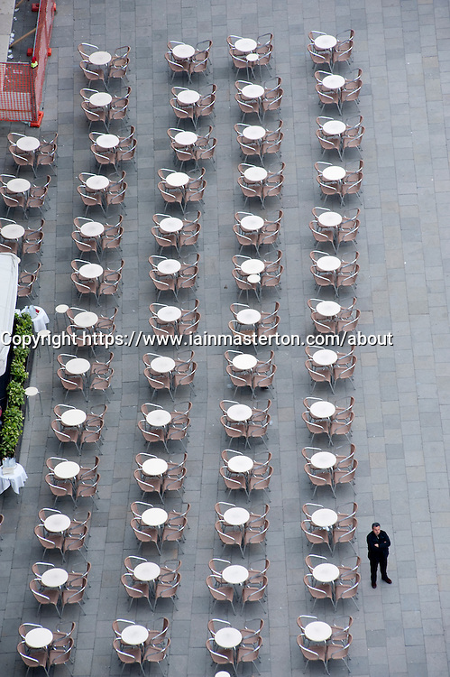 Quiet day at an outdoor cafe in Piazza San Marco in Venice Italy