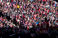 Atletico de Madrid supporters covering their faces to the sun during La Liga match between Atletico de Madrid and Athletic Club and Wanda Metropolitano in Madrid , Spain. February 18, 2018. (ALTERPHOTOS/Borja B.Hojas)