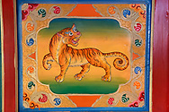 Tiger painting,The Tibetan Lamaistic Buddhist Songtsam Monastery, Shangri-La or Xianggelila,  Zhongdian County, Yunnan, China